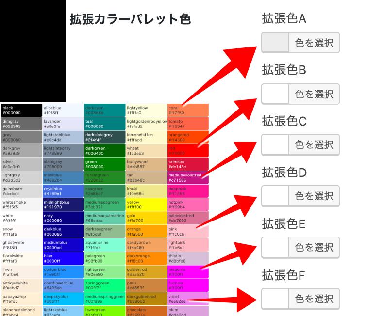 拡張カラーパレット色