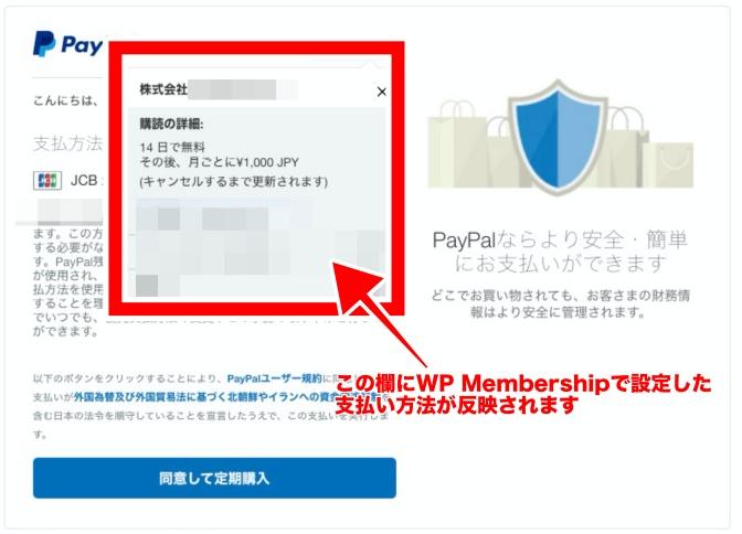 PayPal手続きページ