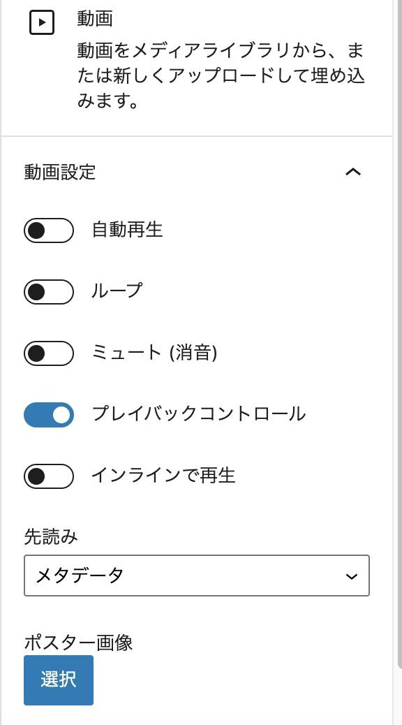 動画ブロックで選べる機能