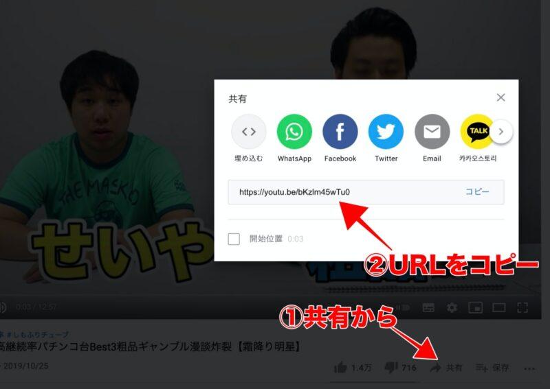 YouTube側で動画URLを取得。