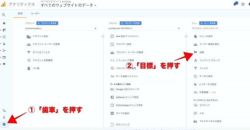 ステップ①:Googleアナリティクス管理画面「歯車」→「目標」を押す